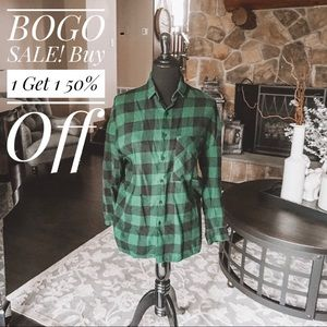 Zara Black and Green Checkered Flannel